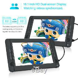 10.1 Dual Screen HD Portable DVD Player Car Headrest Moniter Battery USB SD MP3