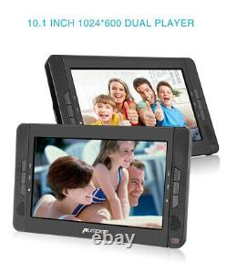 10.1 Portable DVD Player Car Monitor Double Screen USB/SD/MMC AV IN/OUT Battery