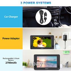 10.5'' Car Dual DVD Player Portable Kids Headrest 5 Hours Rechargeable Battery