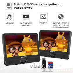 12 Portable Dual Screen DVD Player for Car Rechargeable Battery Last Memory USB