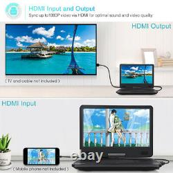 14 Portable Blu Ray DVD Player Rechargeable HDMI Out 1080P Video Sync Screen SD