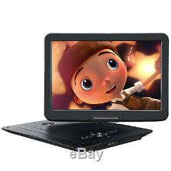 15.6 Portable DVD Player for Car Large Swivel Screen 7 Hours Battery USB SD MMC