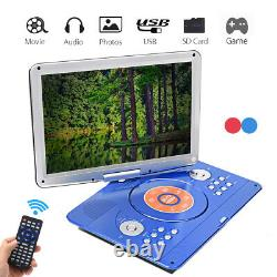 16'' Portable Rechargeable DVD CD MP4 Player 270°Rotation LED HD Screen Car