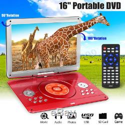 16'' Portable Rechargeable DVD Player + Remote Control 270° Rotation LED Screen