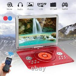 16'' Screen Portable Rechargeable HD DVD CD MP4 Player 270° LED Car Remote