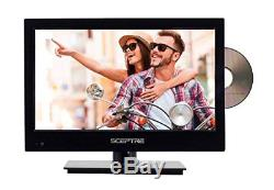 16-inch HD LED TV Portable Car Adapter Dc/Ac Dvd Player Wall Mounted Piano Black