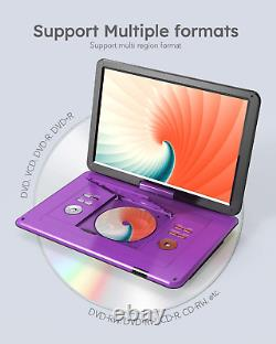 17.5 Portable Dvd Player With 15.6 Large Hd Screen, 6 Hours Rechargeable Batte