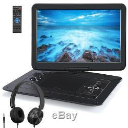 17.9 Portable DVD Player with 15.6 Large Swivel Screen Battery USB + Headphone