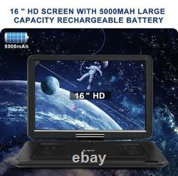 19 Full HD Portable DVD Player with 16 Large Screen HDMI 1080P 5000mAh Battery