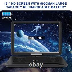 19 Portable DVD CD Player with LCD Large Swivel Screen Rechargeable USB SD HDMI