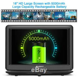 19 Portable DVD Player withRechargable Battery 16 Swivel Screen HDMI USB+Headset