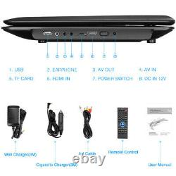 19 Portable DVD Player with 16 Large Screen 1366768 HDMI 1080P USB SD Battery