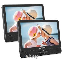 2X 12 Dual Screen Portable DVD Player Car Headrest Monitor Rechargeable Battery