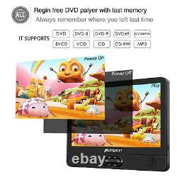 2 X 12 Portable Dual Screen DVD Player Car Built-in Rechargeable Battery USB/SD