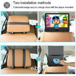 2x12 TFT Dual Screen DVD Player Portable for Car Rechargeable USB SD+2 Headsets