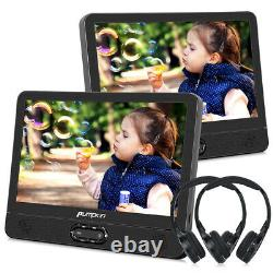 2x 12 Car Portable Dual Screen DVD Player Built-in Rechargeable Battery+Headset