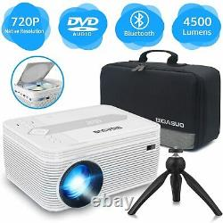 BIGASUO Bluetooth Full HD Projector WithBuilt in DVD Player Home Theater Video