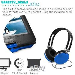 Ematic 10 Portable DVD Player with Headphones and Car Headrest Mount Blue NEW