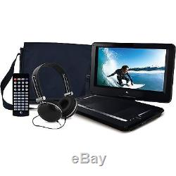 Ematic 14 Portable DVD Player with Remote Carrying Case and Headphones Black