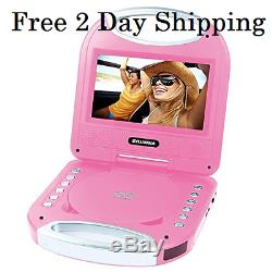 (FREE 2 DAY SHIP) Sylvania SDVD7049 7 in Portable DVD Player with Handle, Pink