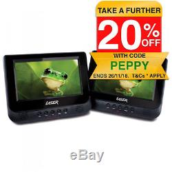 LASER Portable DVD Player Dual 7 screen In Car with Headrest Mount Straps Holder