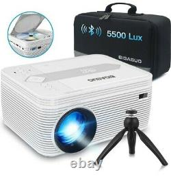 Mini Bluetooth Projector with DVD Player, 5500 Lumens Portable Video HD 1080P 720P