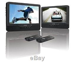New Logik Portable Dual DVD Player 9'' Twin Screen In Car Remote Usb