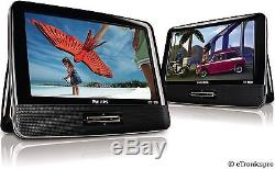 PHILIPS 9 Inch LCD CAR TRUCK RV PORTABLE DOUBLE 2 SCREENS DVD CD PLAYERS