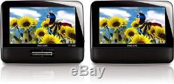 Philips PD7012/37 7-Inch LCD Dual Screen Portable DVD Player, Black Discontinu