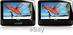 Philips PD9012/37 9-inch LCD Dual Screen Portable DVD Player Black Certified