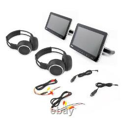 Pyle Dual Portable Car CD DVD TV Players with 2 Wireless Headphones (Open Box)