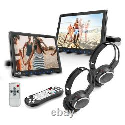 Pyle PLHRDVD90KT Portable Car CD DVD TV Player with Wireless Headphones (2 Pack)