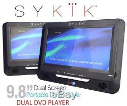 Sykik SYDVD496 Dual 9.8 Inch Screen Dual DVD Player System for Auto Portable NEW