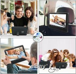 WONNIE 10.1 Dual Screen Portable DVD Player For Car With Built-in 5 Hours Recha