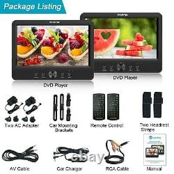 WONNIE 10.5 Dual Portable DVD Player for Car Twins CD Players Play Same. New