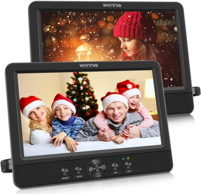 Wonnie 10.5 Dual Screen Dvd Player Portable Cd Players For Car With Two Mountin