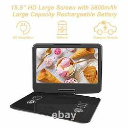 WONNIE 15.5 inch Portable DVD Player with 270 Swivel Screen, Built-in 4 hours