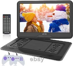 WONNIE 17.5 Portable DVD Player with 15.6 Inch Large Swivel Screen 1366x768 HD