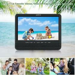 WONNIE 7.5 Inch Dual Portable DVD Player for Car, Two Screens play same movies