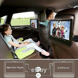 WONNIE 9'' Dual Screen Portable DVD Player for Car with Built-in 5 Hours